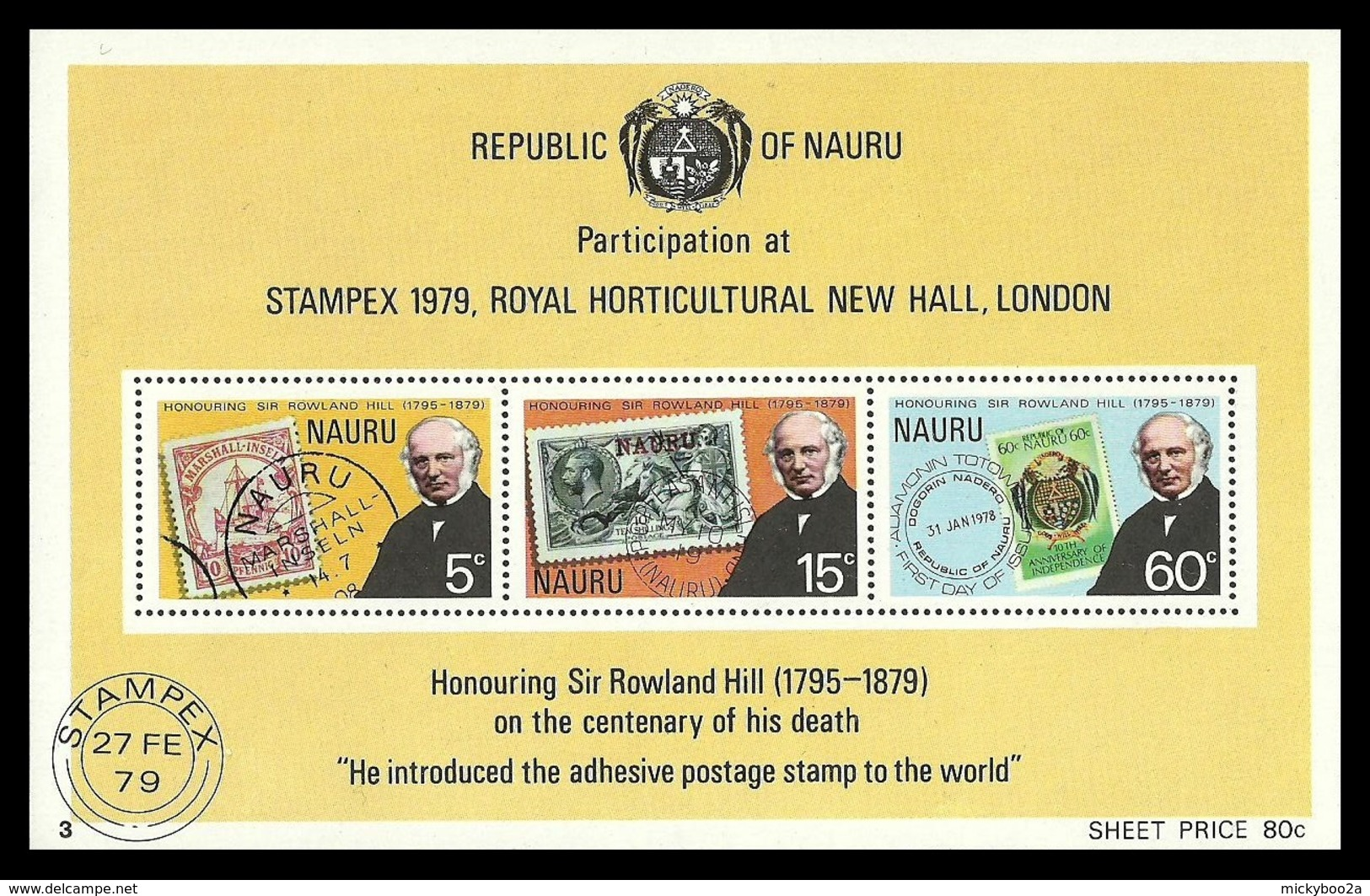 NAURU 1979 ROWLAND HILL OMNIBUS SHIPS HORSES STAMPEX M/SHEET MNH - Nauru