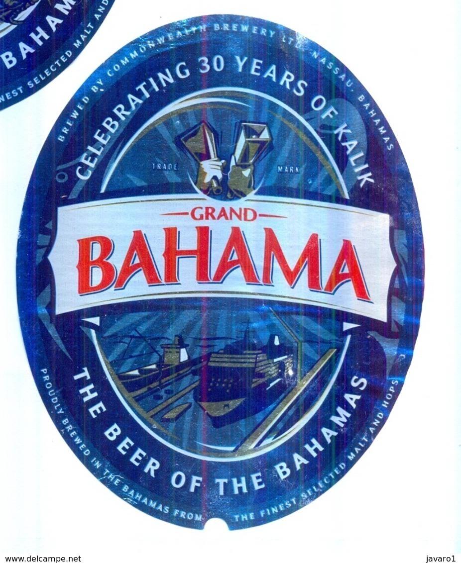 BAHAMAS : KALIK Beer  GRAND BAHAMA ISLAND Label , With Bottle Top Label And Bottle Back Label - Beer