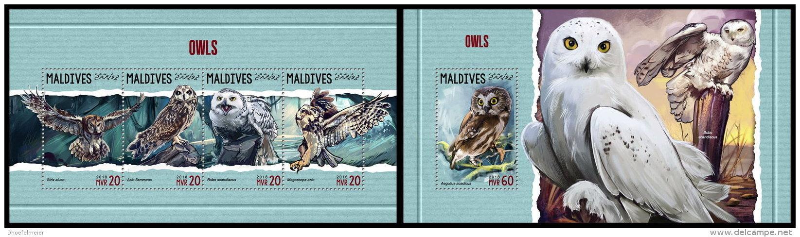 MALDIVES 2018 MNH** Owls Eulen Hiboux M/S+S/S - OFFICIAL ISSUE - DH1818 - Eulenvögel