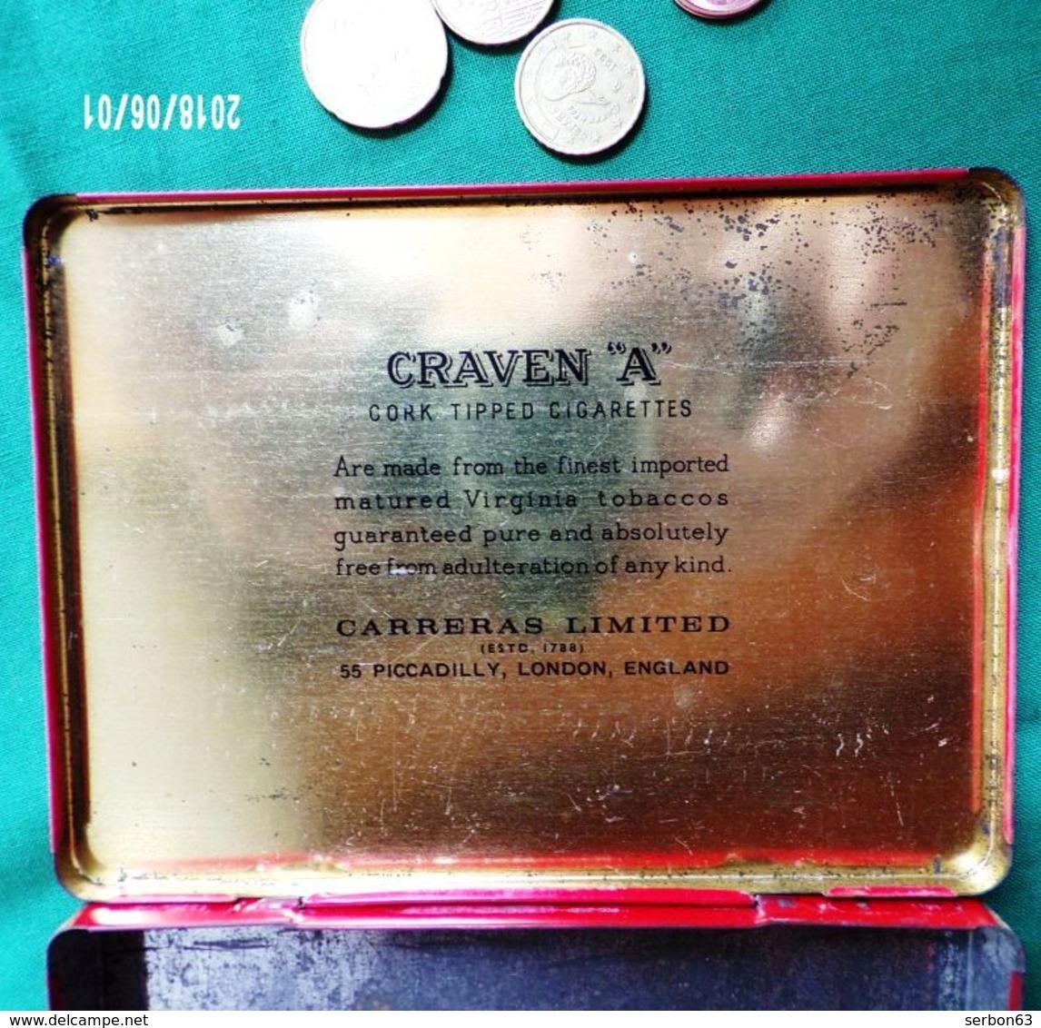 CRAVEN A  CORK - TIPPED BOITE MÉTALLIQUE TRÈS USAGÉE PUBLICITAIRE CIGARETTES VIDE TABAC VERS 1980 ? PUBLICITÉ - Serbon63 - Boites à Tabac Vides