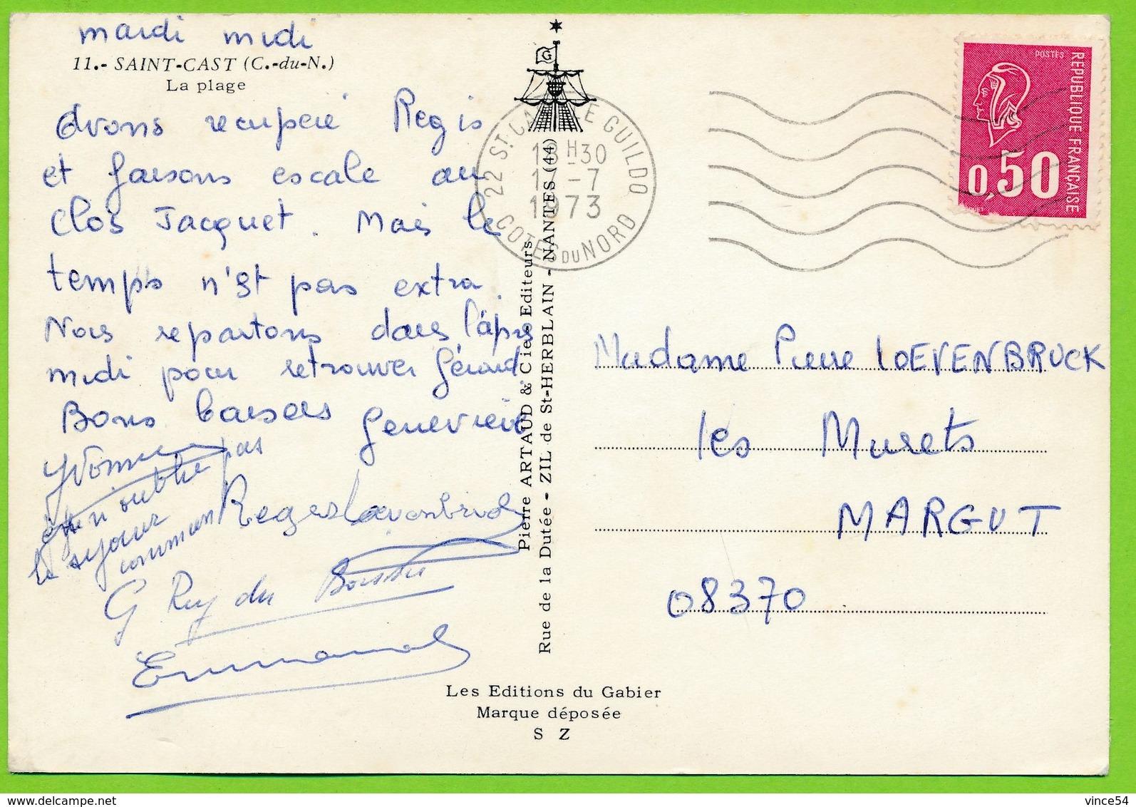 SAINT-CAST - La Plage Club Des Benjamins Mercedes W114 VW 1200 Autos Carte Circulé 1973 - Saint-Cast-le-Guildo