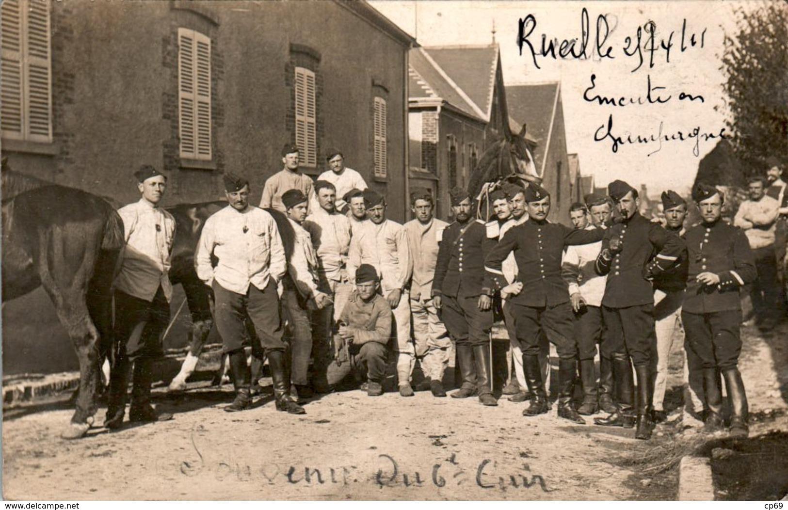 CARTE PHOTO émeute Et Grèves En Champagne 6 ème Régiment De Cuirassiers Dragons Cp Envoyée De Port-à-Binson 1911 MARNE - France