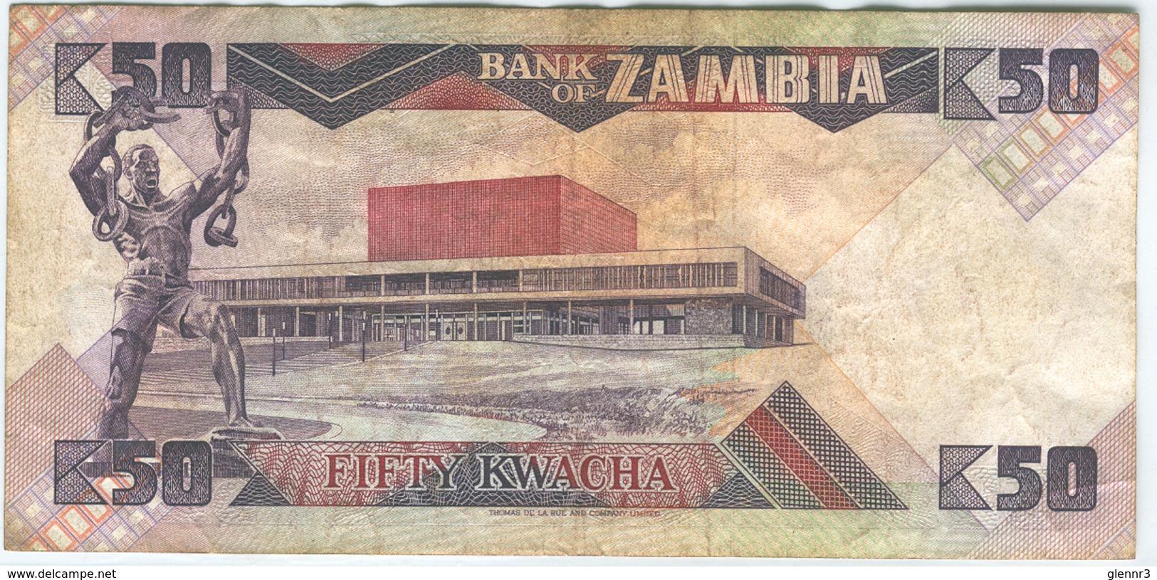ZAMBIA 28a 1986-88 50 Kwacha Used Good-Very Good - Zambia