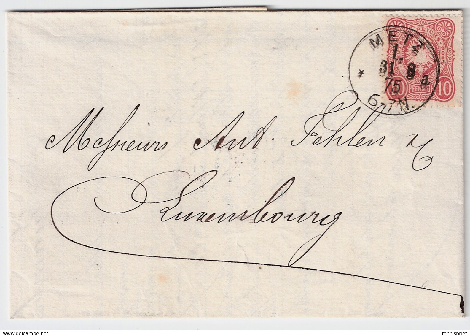 Luxemb. 1875, DR Nach Luxemburg , #8993 - 1859-1880 Wappen & Heraldik