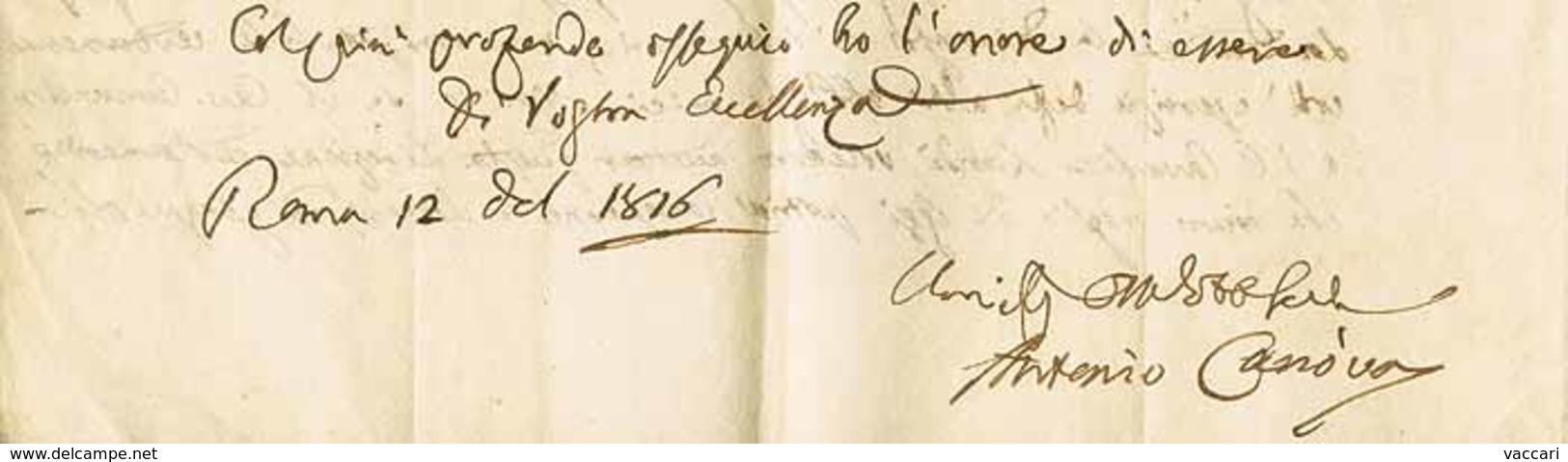 B AUTOGRAFI - Antonio Canova (1757-1822) - Interno Di Lettera Scritta A Roma Il 12.1.1816 A Firma Di Antonio Canova (scu - Stamps