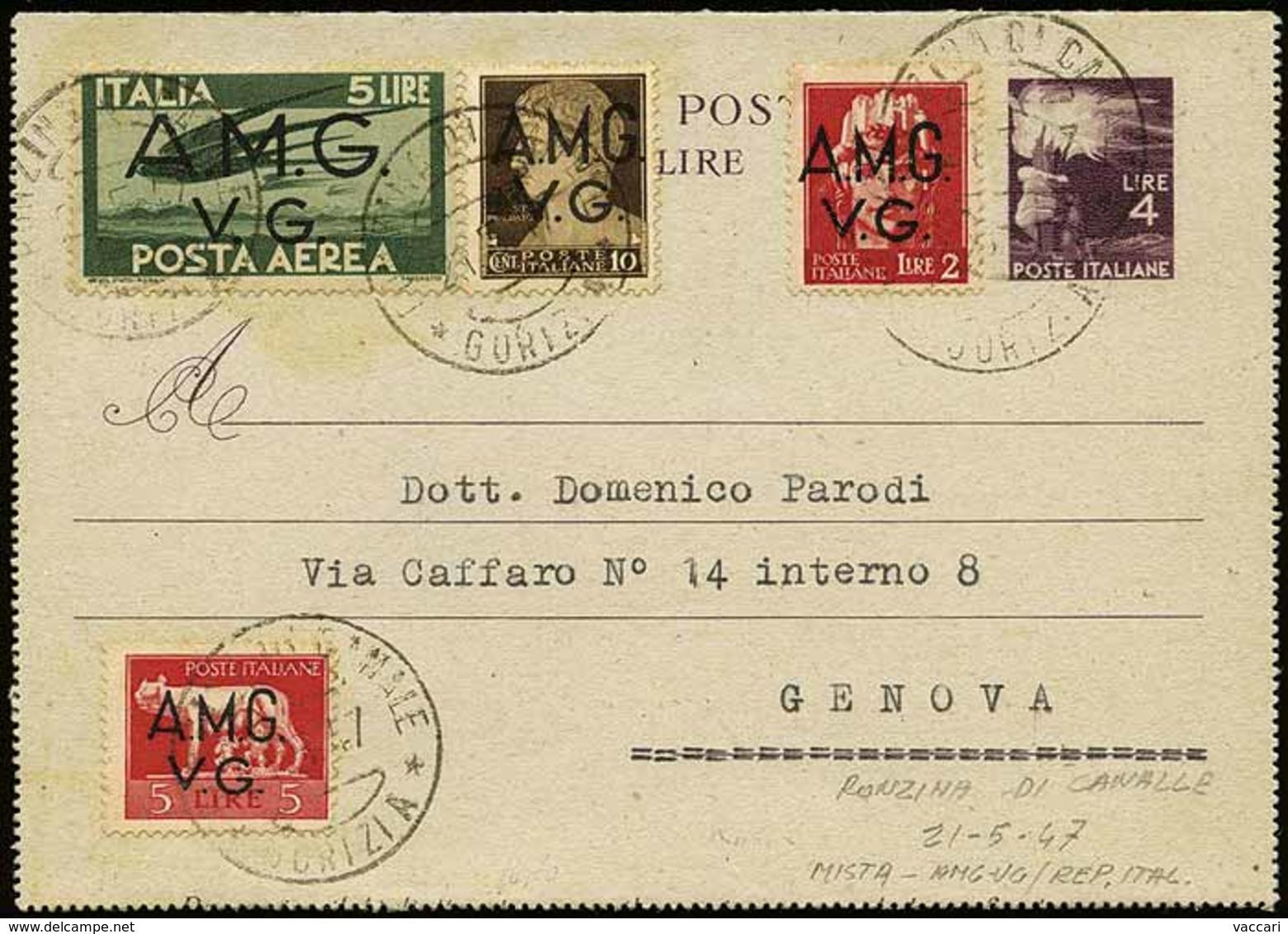 B Trieste AMG-VG - 1 Frontespizio Raccomandato Con Il Solo Bollo Di Arrivo Al Verso + 2 Avvisi Di Ricevimento + 1 Cartol - Stamps