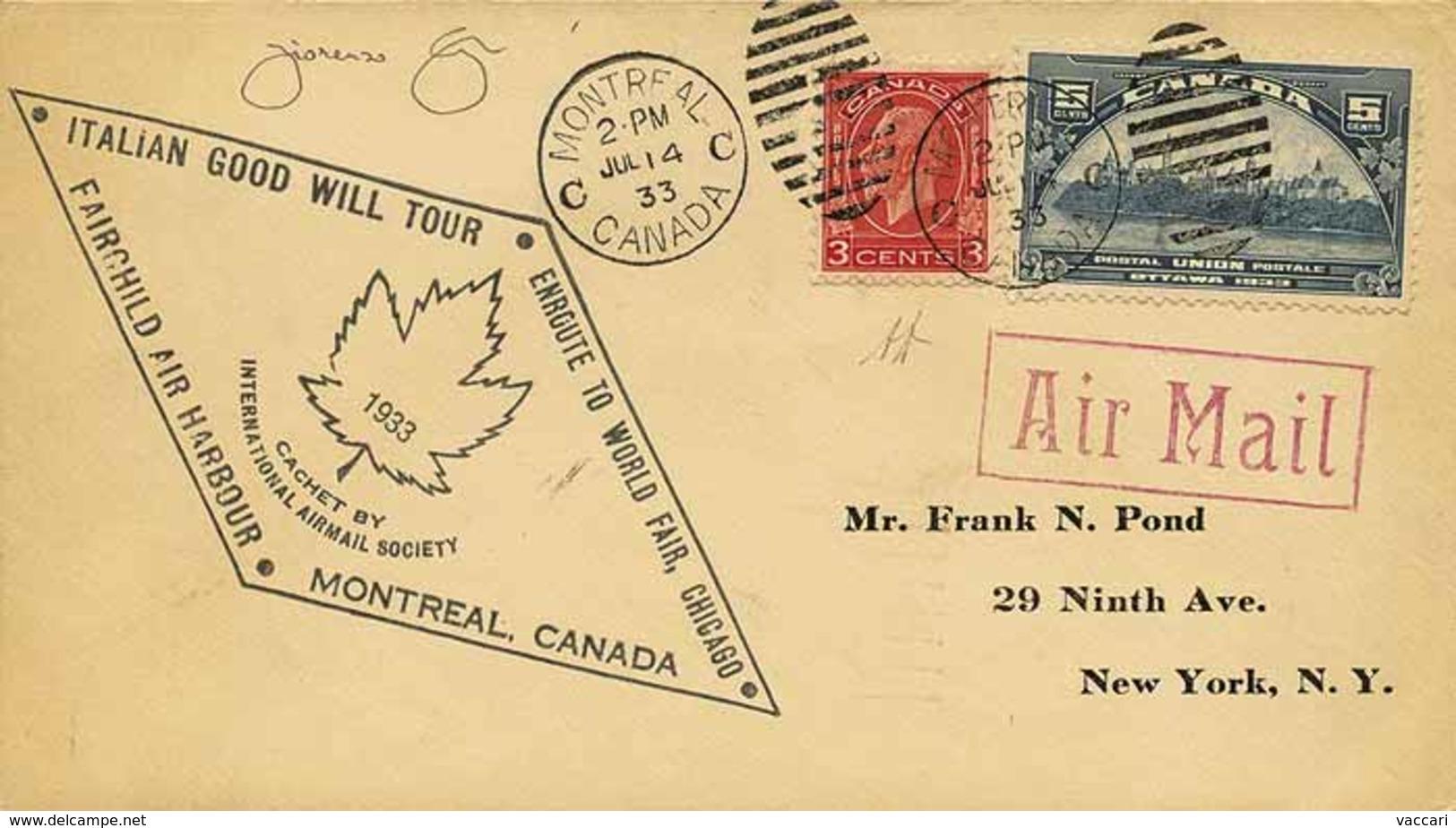 B Canada - 1933 - Italo Balbo - Crociera Nord Atlantica Del Decennale - Da Montreal A Chicago Per Via Aerea Del 2.7.1933 - Stamps