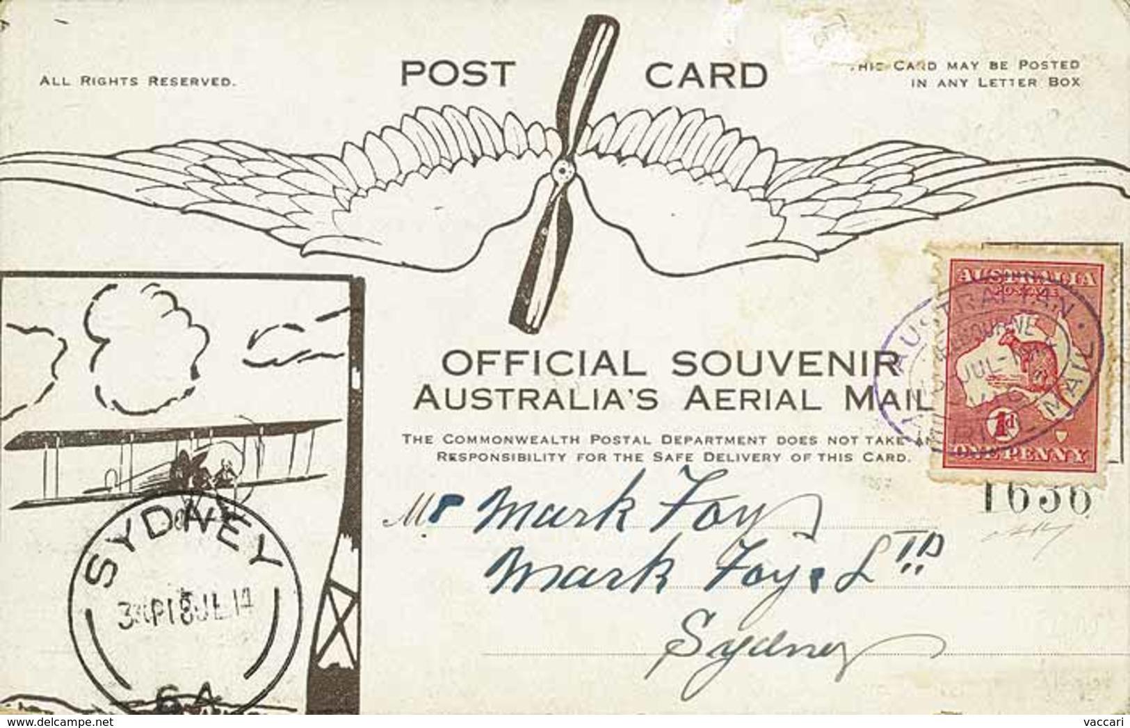 B Australia - 1914 - Primo Volo Postale Ufficiale In Australia, Melbourne-Sidney - Cartolina Commemorativa Numerata Con  - Stamps