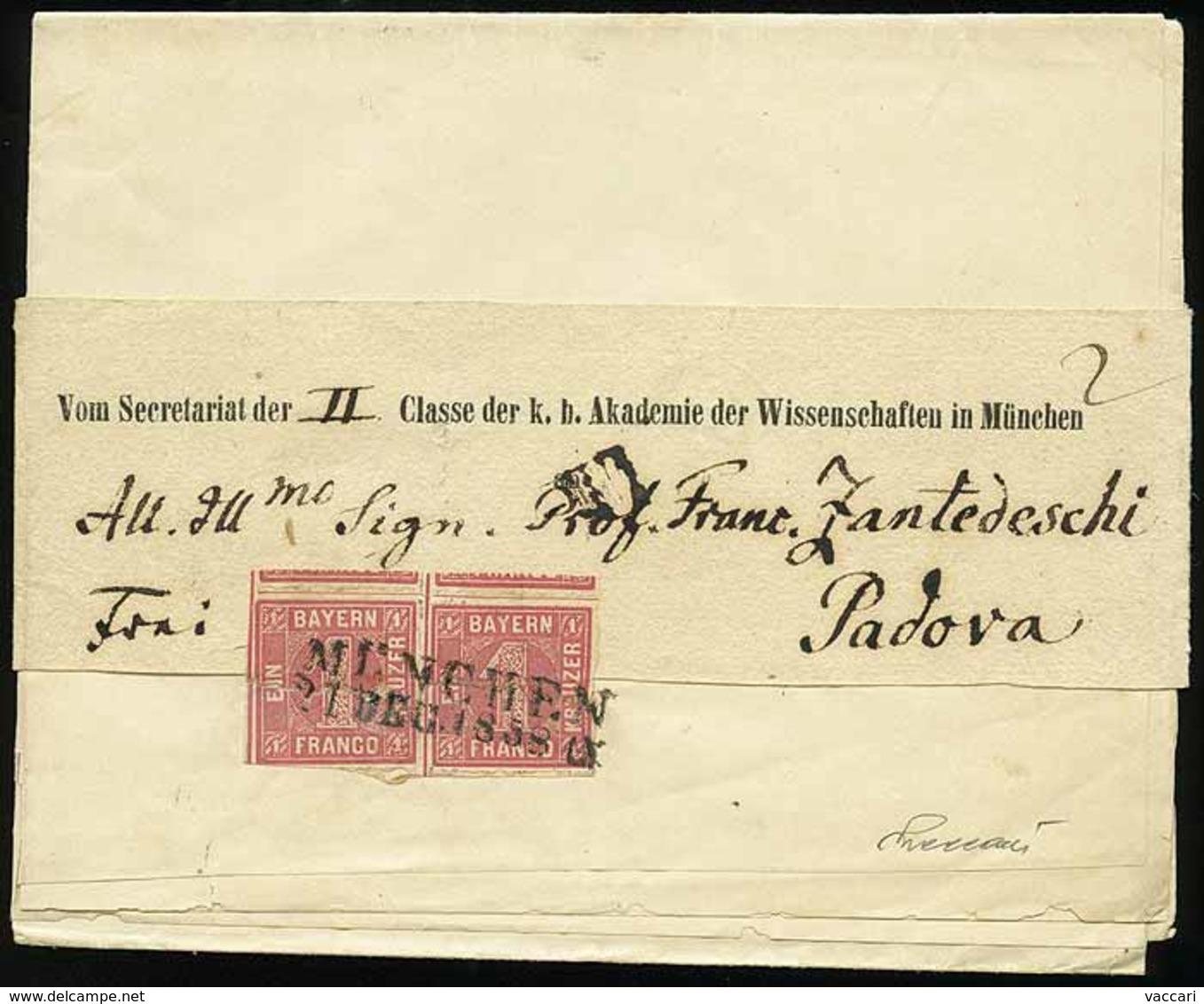 B Germania (Antichi Stati) - Baviera - Avviso Spedito Sotto Fascia Da Monaco A Padova Del 21.12.1858 Con Coppia Kr.1 Ros - Stamps