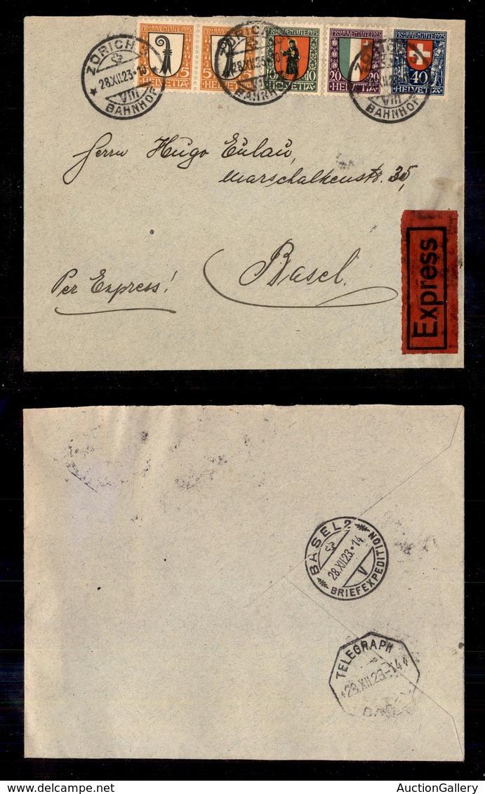 0703 EUROPA - SVIZZERA - Pro Juventute 1923 (185/188) - Espresso Da Zurigo Del 28.12.23 - Stamps