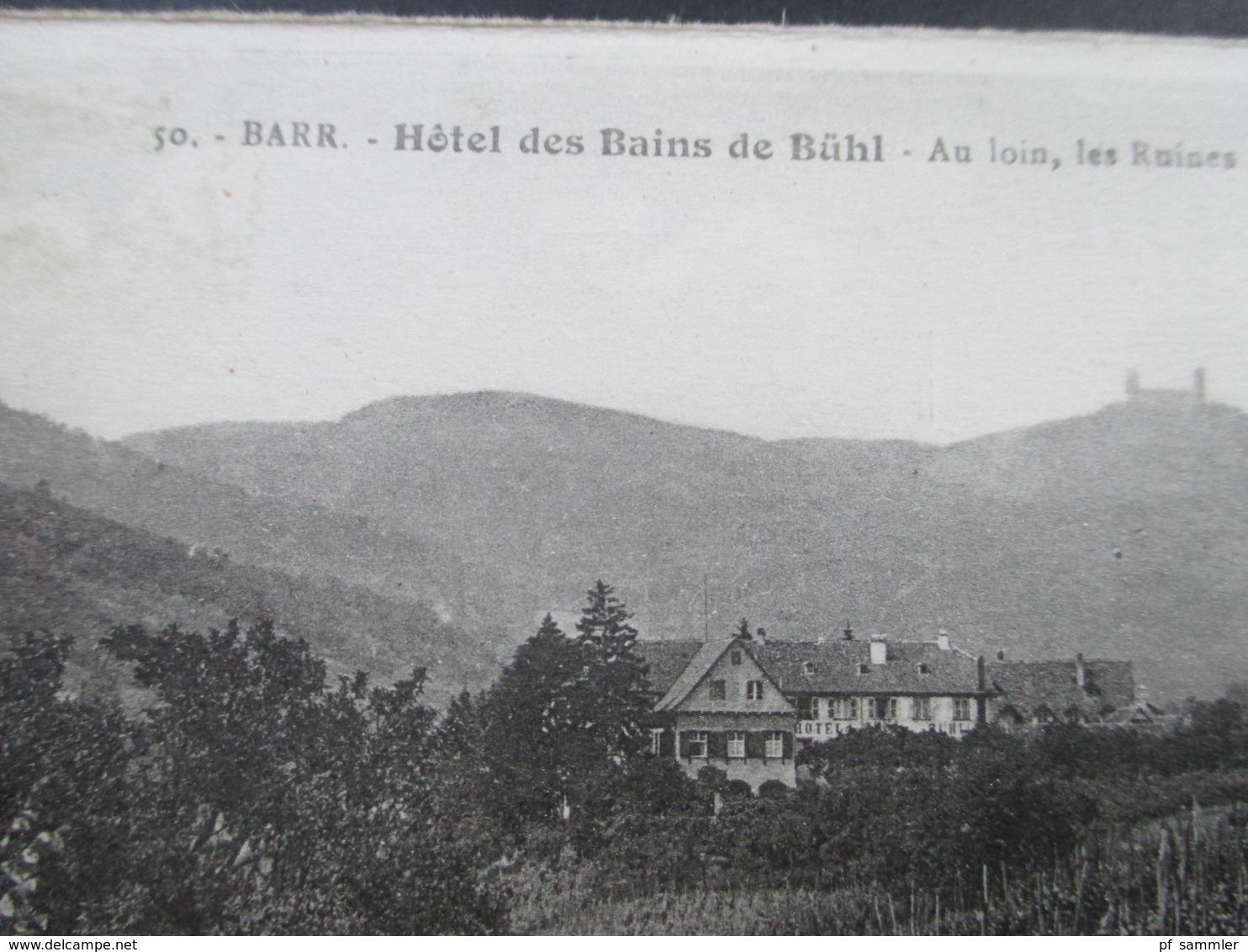 FRankreich AK Barr. Hotel Des Bains De Bühl. Au Loin, Les Ruines Du Chateau D'Andlau - Hotels & Gaststätten