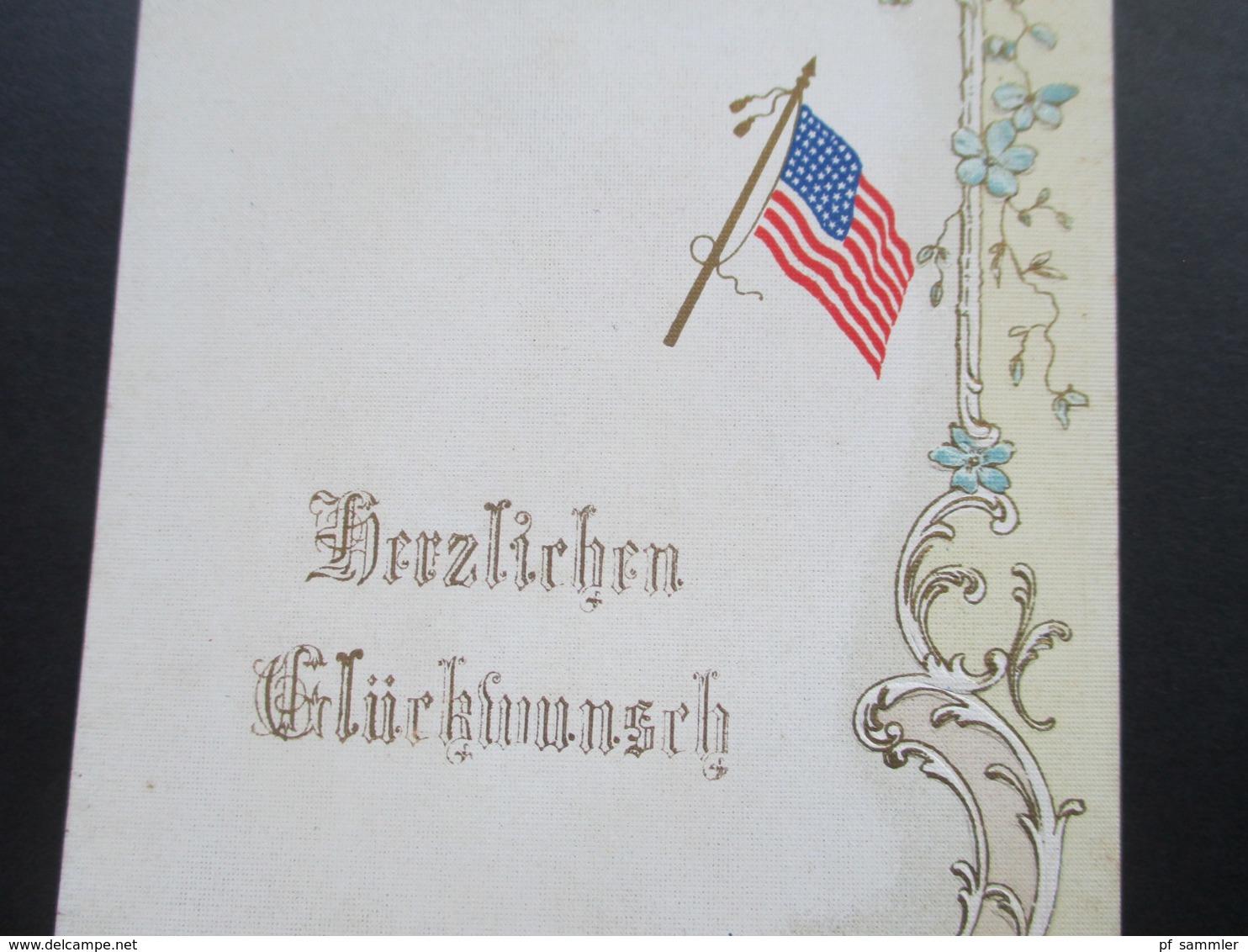 Werbepostkarte Cichorien Daniel Voelcker Bester Kaffeezusatz. Rieliefkarte. Amerikanische Flagge. Herzlichen Glückwunsch - Werbepostkarten