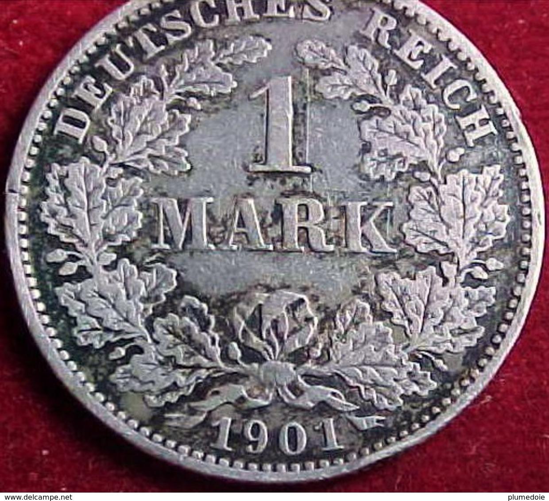 ALLEMAGNE 1 MARK 1901 Muldenhütten E  - Aigle Impérial, Second Type. Argent . DEUTSCHES REICH SILVER GERMANY COIN - [ 2] 1871-1918: Deutsches Kaiserreich