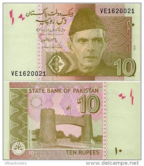 PAKISTAN       10 Rupees        P-45g         2012        UNC  [sign. Yaseen Anwar] - Pakistan