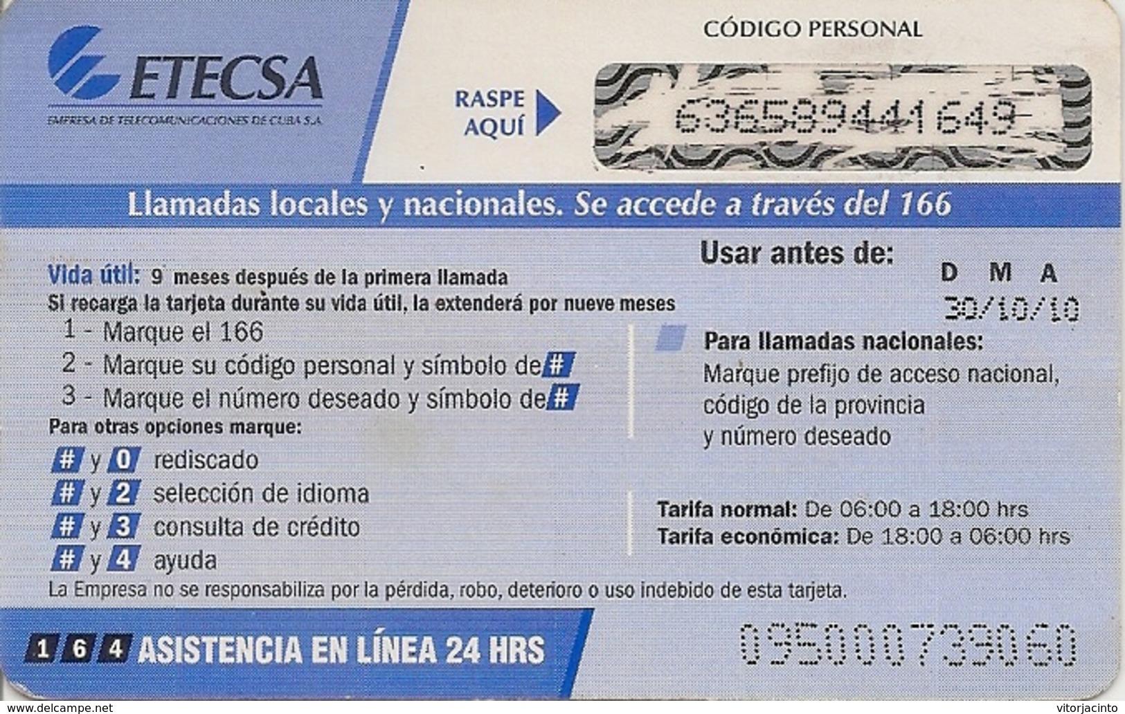 ETECSA Propia- Local And NationaL Phone Card Recharge 10.00 MN - Cuba - Cuba