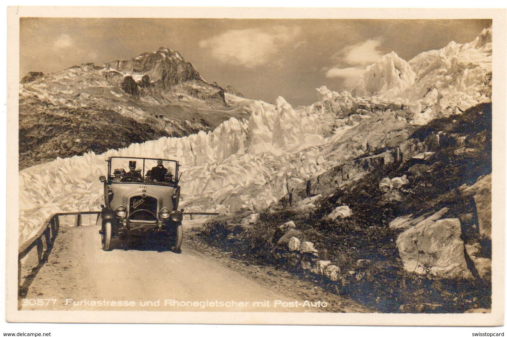 FURKA Furkastrasse U. Rhonegletscher Postauto Saurer - VS Valais