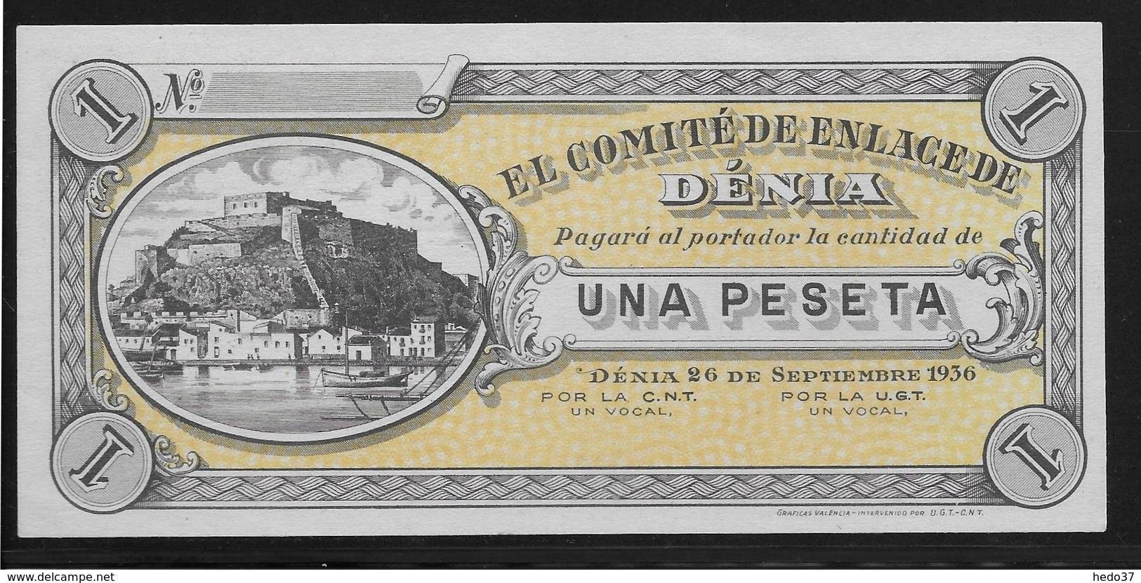 Espagne -  1 Peseta - 1936 - Denia - NEUF - Espagne