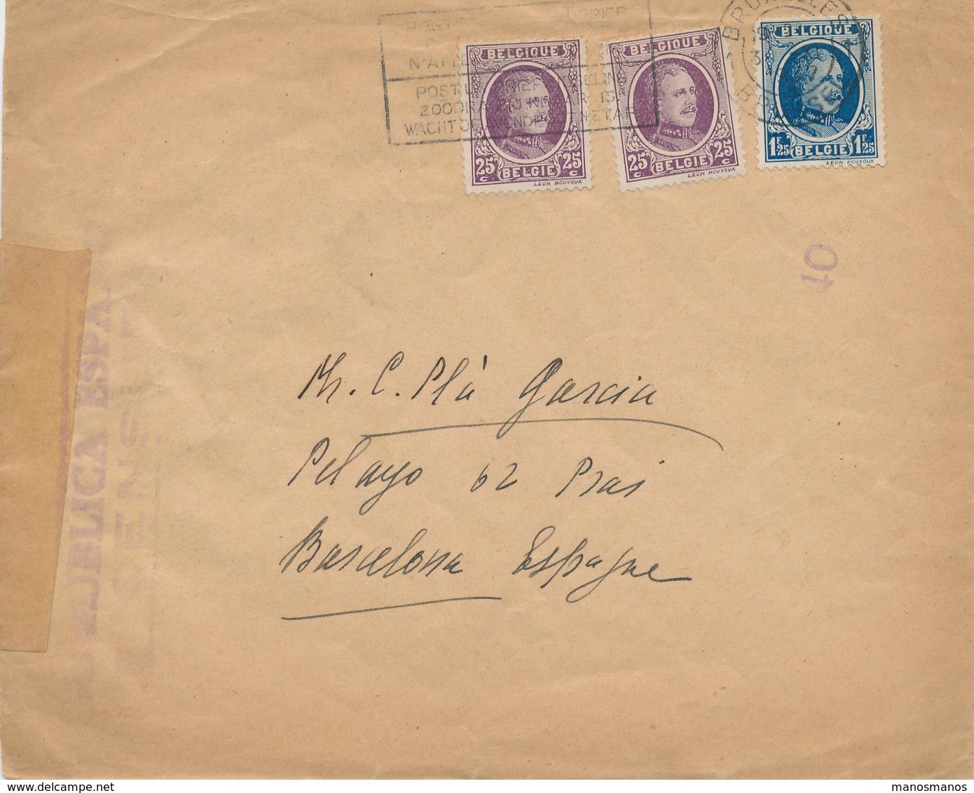 761/26 - Lettre TP Houyoux - Emploi TARDIF BRUXELLES 1937 Vers BARCELONA - Censure Républicaine Espagnole - 1922-1927 Houyoux