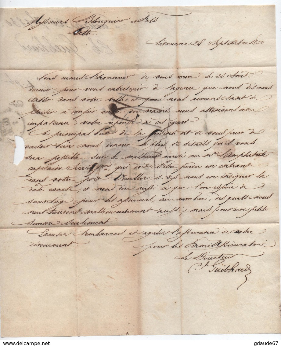 """1830 - LETTRE De LIVORNO Pour CETTE Avec CACHET D'ENTREE """"ITALIE PAR ANTIBES"""" - Marcophilie (Lettres)"""