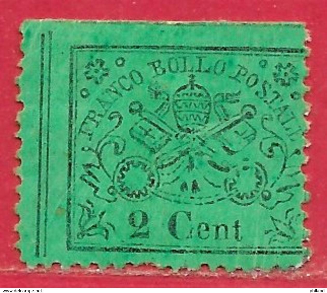 Etats Pontificaux N°19 2c Noir Sur Vert 1868 (*) - Etats Pontificaux
