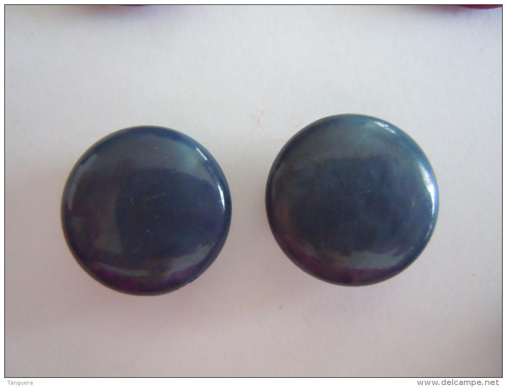 2 Vintage  Knopen Blauw Plastic 2 Boutons Bleu 1,70 Cm - Boutons