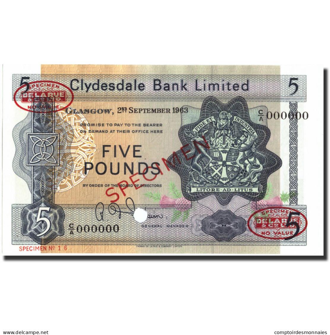 Billet, Scotland, 5 Pounds, 1963, 1963-09-02, Specimen, KM:196, NEUF - [ 3] Scotland