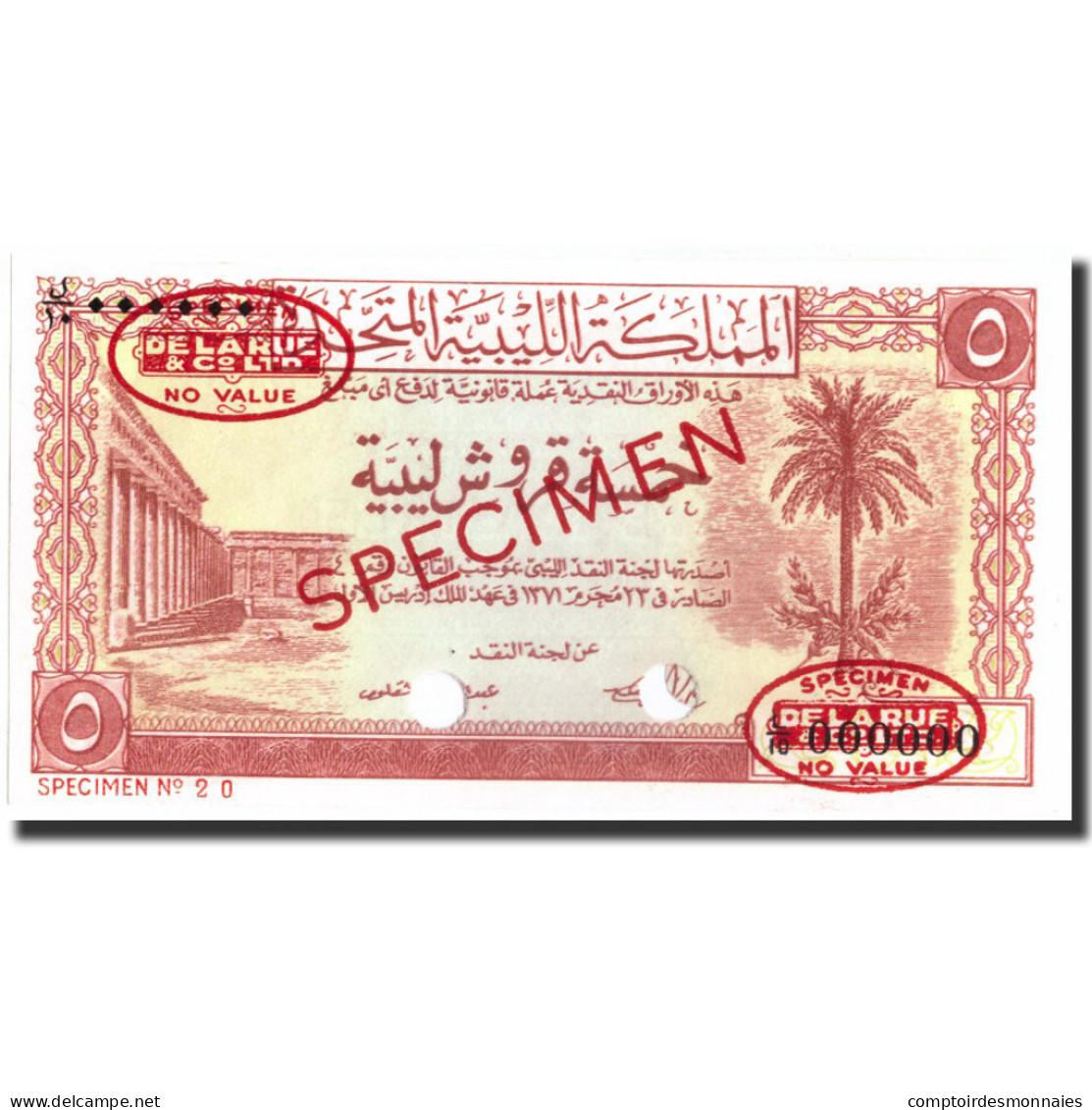 Billet, Libya, 5 Piastres, 1951, 1951, Specimen TDLR, KM:5, NEUF - Libye
