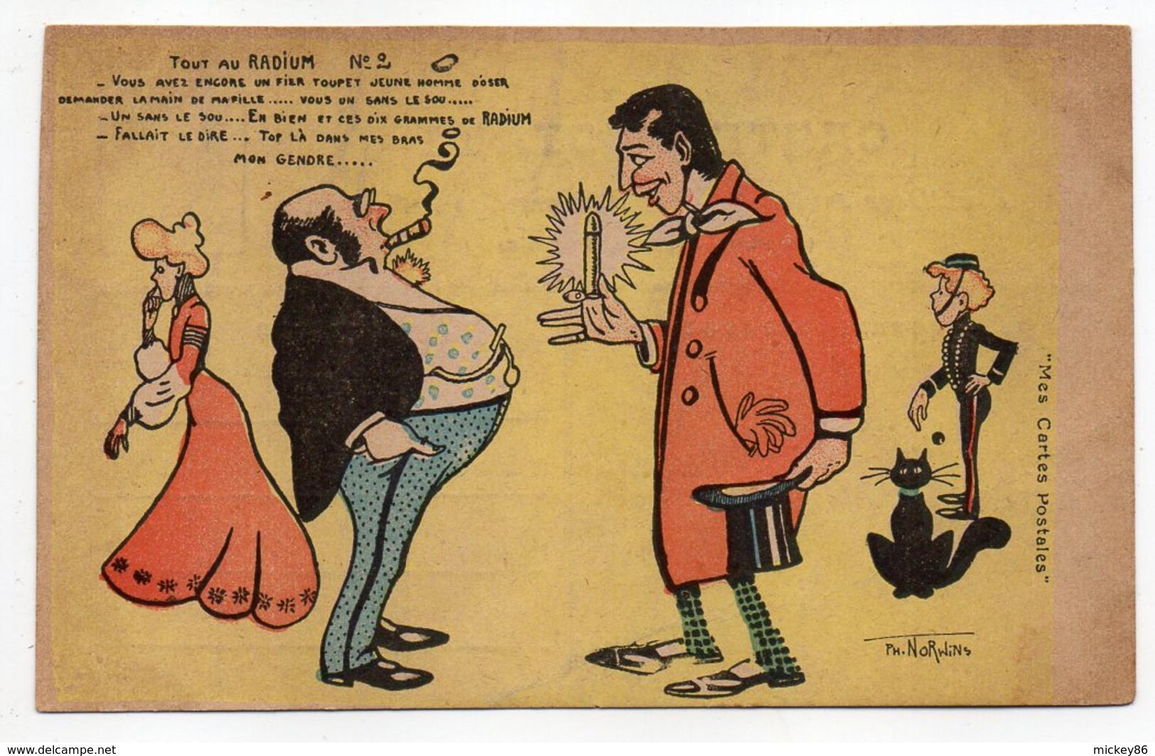 Illustrateur  NORWINS  - Humour--Tout Au Radium--Demande De La Fille En Mariage,chatnoir,Spirou - Norwins