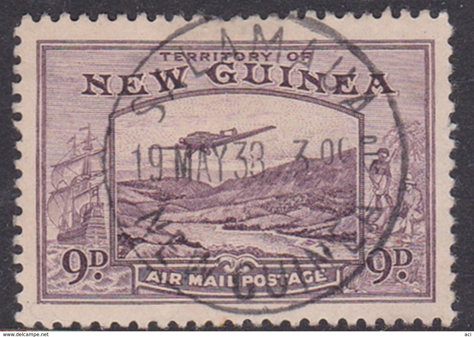 New Guinea Scott C54 1939 Air Plane, 9p Violet, Used - Papua New Guinea