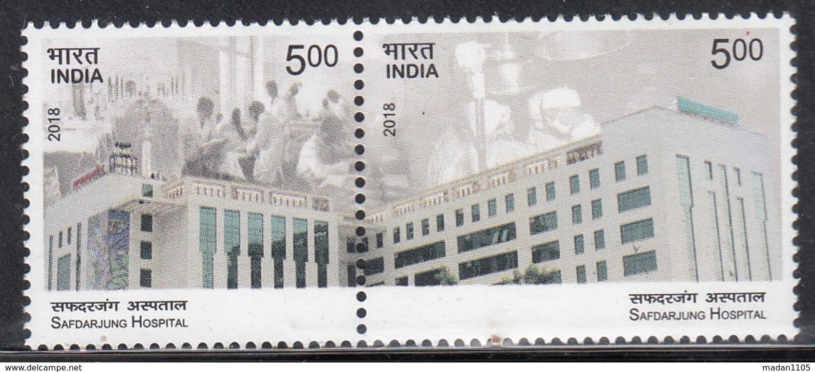 INDIA 2018 SAFDARJUNG Hospital, Set 2v Setenant,  Medical, Health, MNH(**) - India