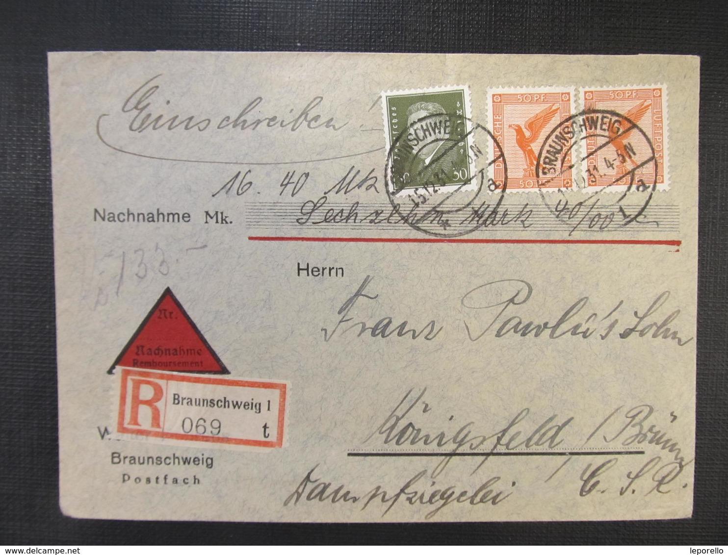 R-BRIEF Braunschweig - Brünn 1931 Nachnahme // D*32191 - Deutschland