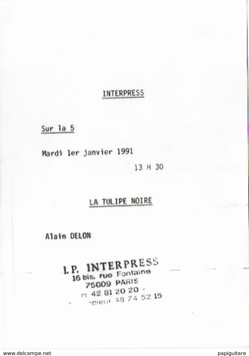 """Photo De Presse Bon Etat , 12,5 X17.5cm   ALAIN DELON   Film """"la Tulipe Noire"""", Explications Lire Verso - Berühmtheiten"""