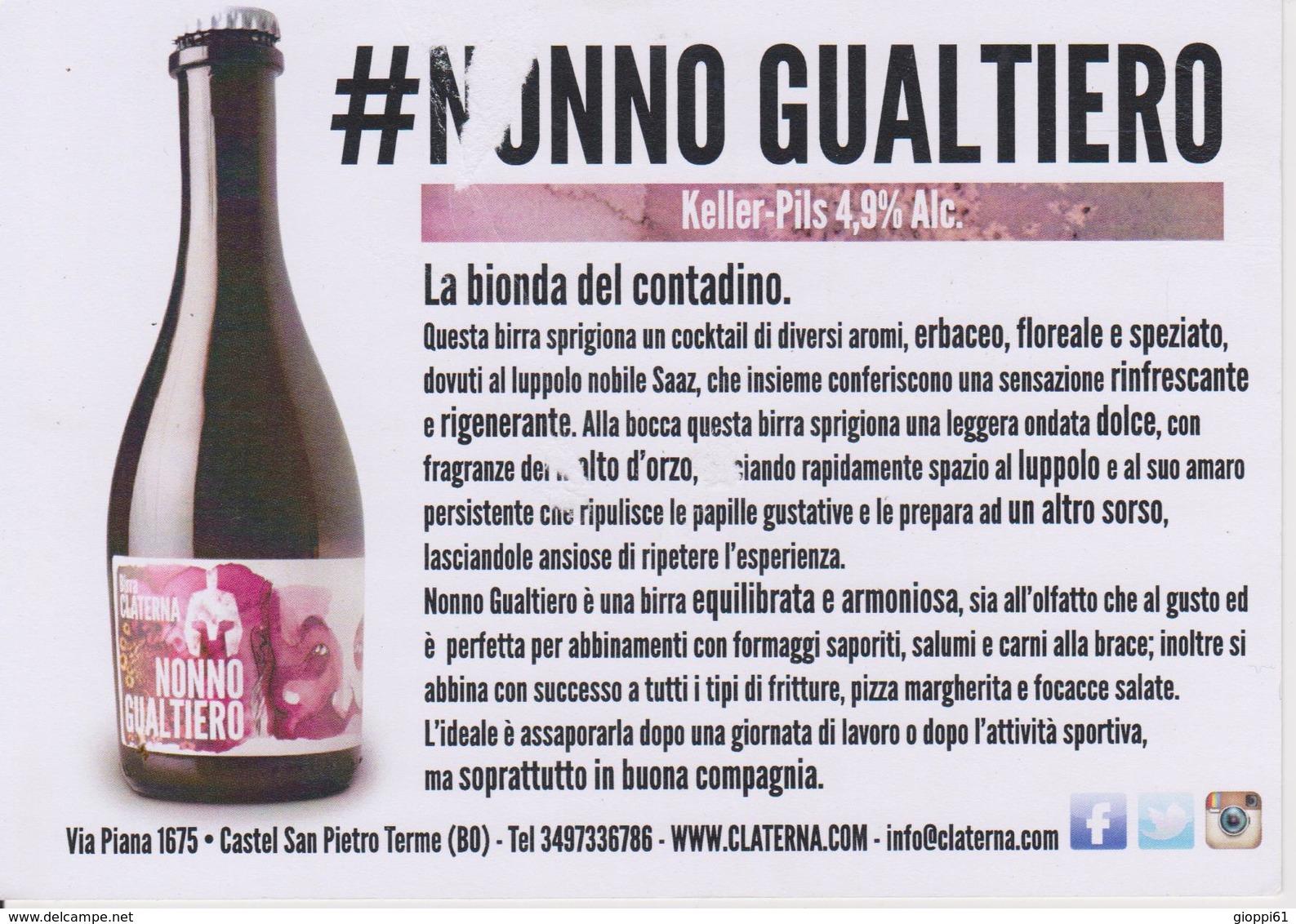 Birra Artgianale Agricola Claterna, Promocard (fronte E Retro) - Non Classificati