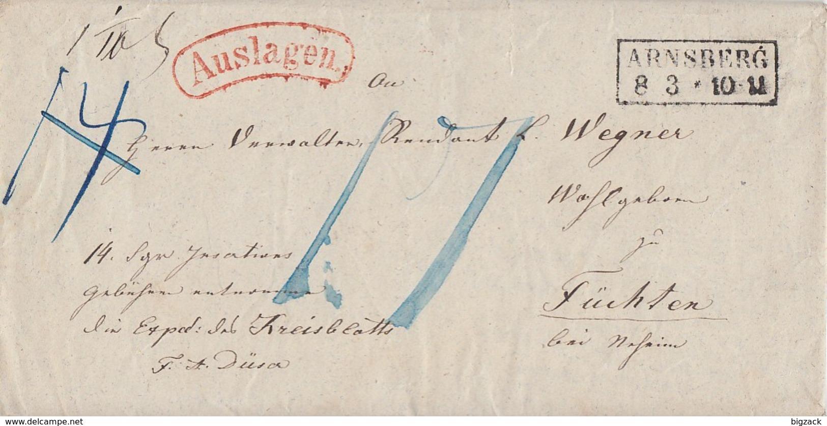 Preussen Brief Mit Rotem Auslagen-Stempel R2 Arnsberg 8.3. - Preussen