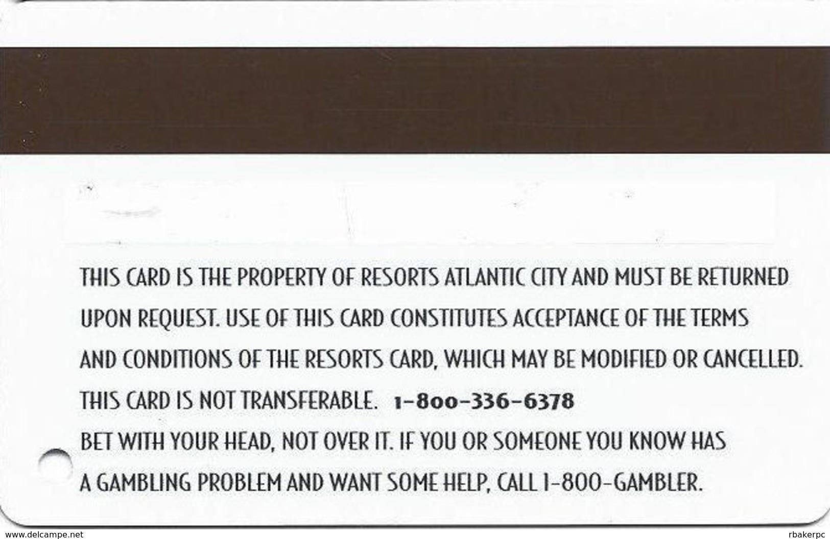 Resorts Casino - Atlantic City NJ - Slot Card - Printed Name - Casino Cards