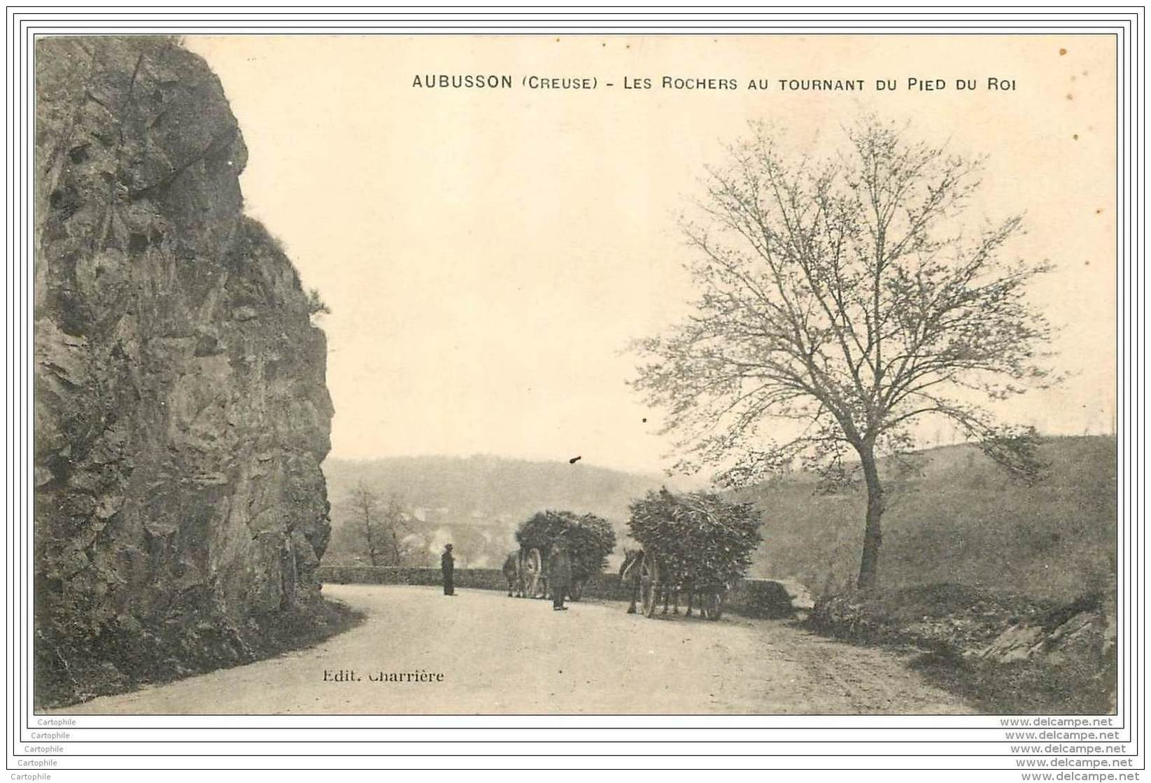 23 - AUBUSSON - Charrettes De Bois Au Tournant Du Pied Du Roi - Hopital Mixte De Gueret 1916  Louis Dravigny - Aubusson