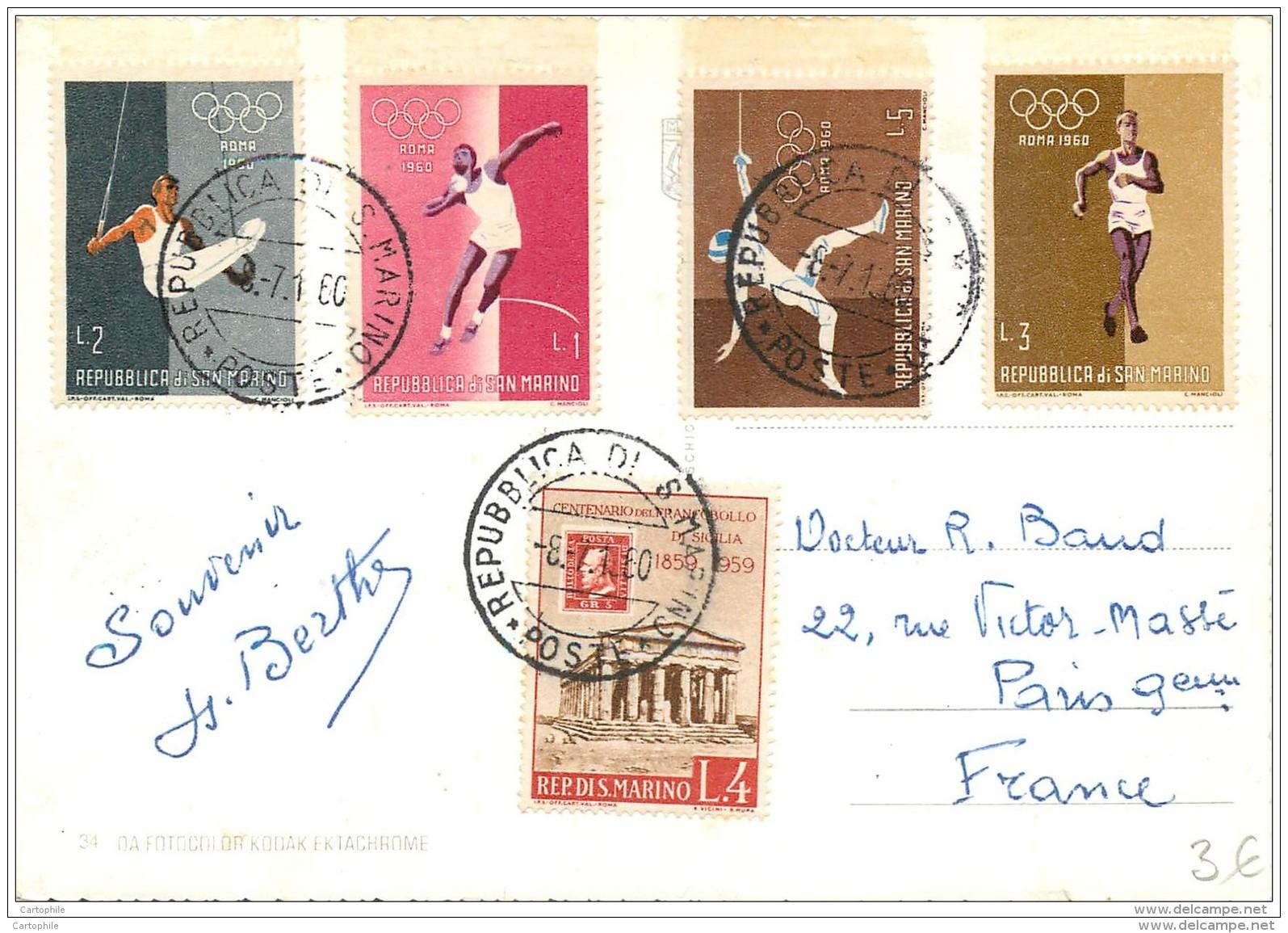 San Marino - Beautiful Stamps On Postcard 1960 - Olympic Games Roma 1960 JO - San Marino