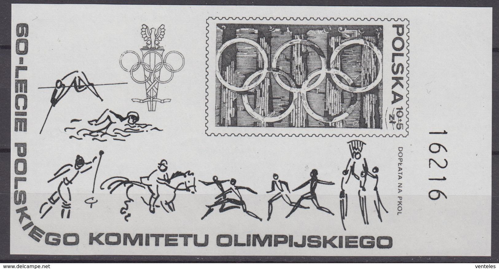 Poland 19.05.1979 RIGHT MARGIN Schwarzdruck Mi # Bl 74, 60th Anniversary Of NOC, Moscow Summer Olympics MNH OG - Verano 1980: Moscu