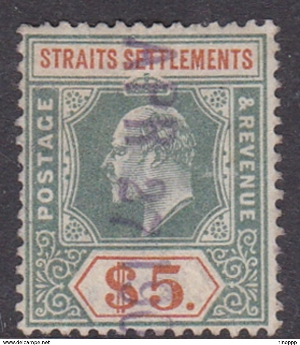 Malaysia-Straits Settlements SG 121 1902 King Edward VII, $ 5.00 Dull Green And Brown Orange, Used - Straits Settlements