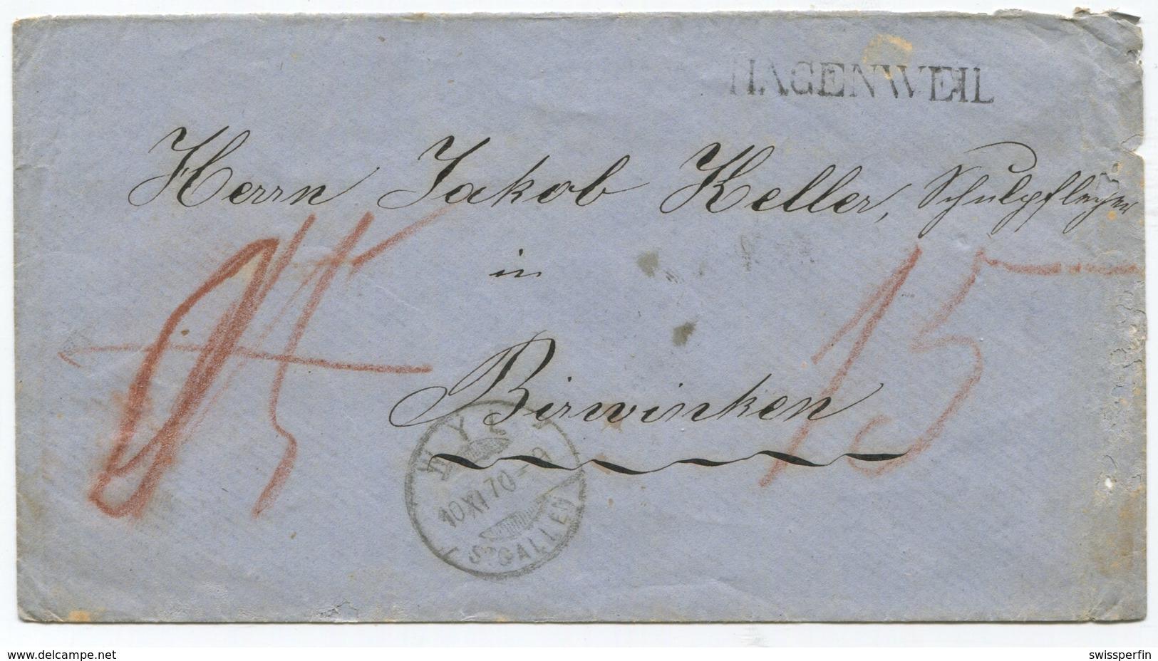 1818 - HAGENWEIL Stabstempel Auf B.o.M. 1870 - Heimat THURGAU - Lettres & Documents