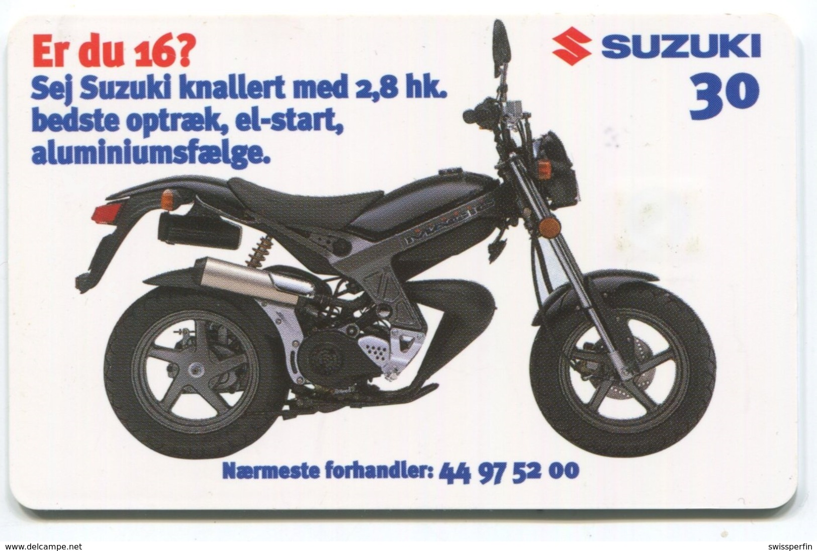 1825 - SUZUKI Motorrad - Dänische Telefonkarte - Motos