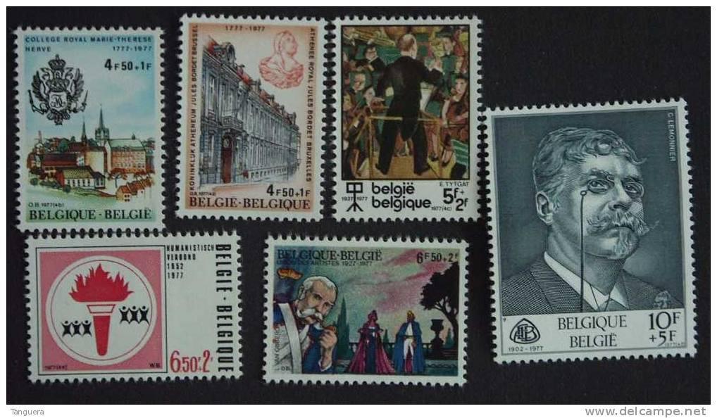 België Belgique 1977 Culturele Uitgifte Série Culturelle 1843-1848 Yv 1837-1842 MNH ** - België
