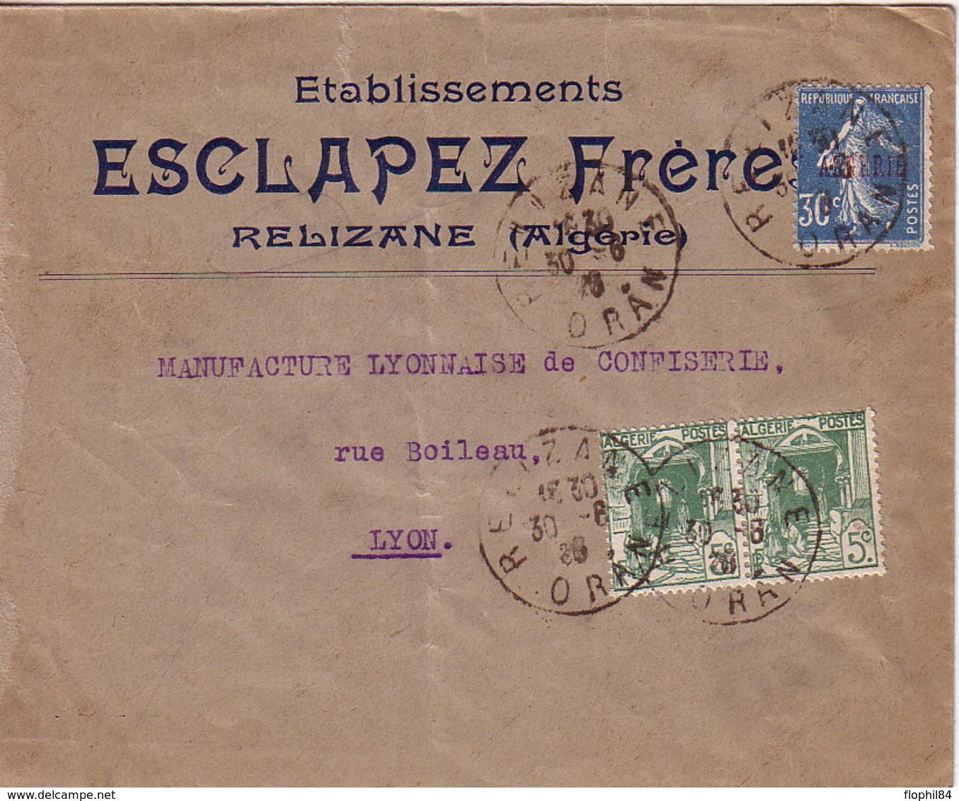ALGERIE - SEMEUSE - 25c BLEU - RELIZANNE - ORAN - 31-8-1928 - ENVELOPPE POUR LA FRANCE - ENTETE ESCAPEZ FRERES RELIZANNE - Algeria (1924-1962)