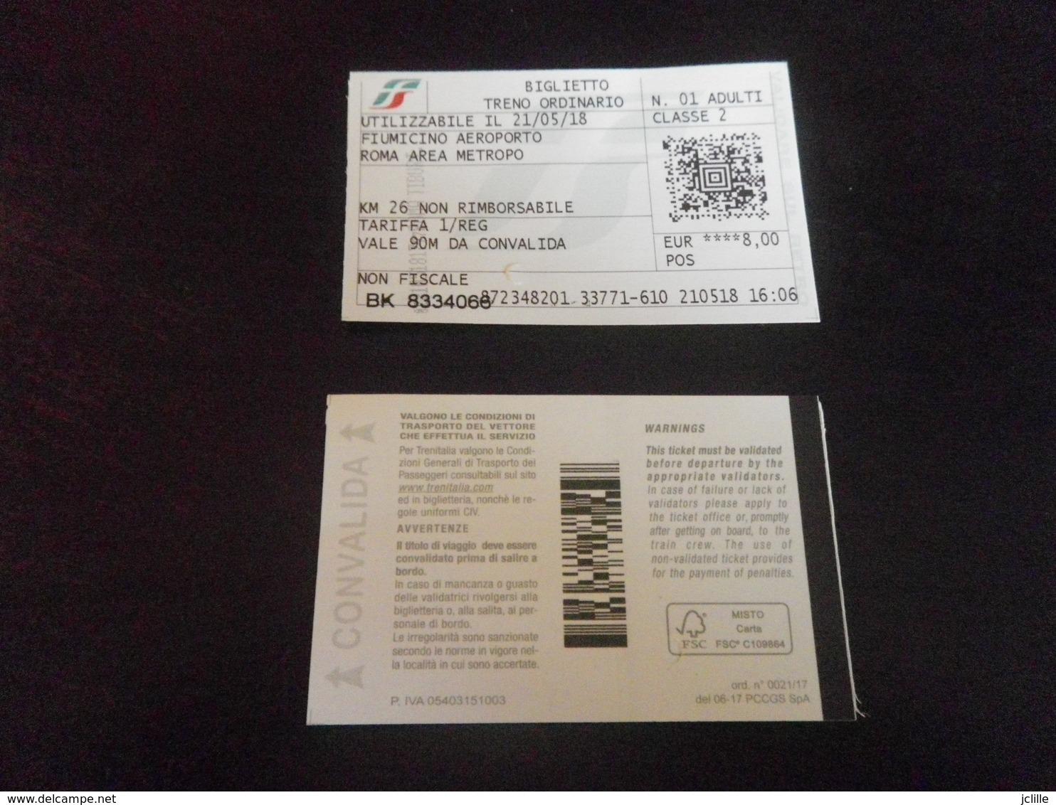 Ticket ROME - AEROPORT FIUMICINO - X2 Aller Retour - Chemins De Fer