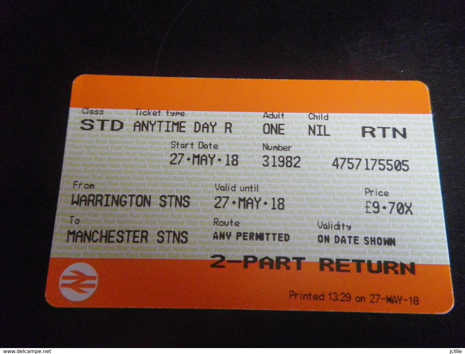 Ticket Manchester Warrington Aller Retour - Spoorwegen