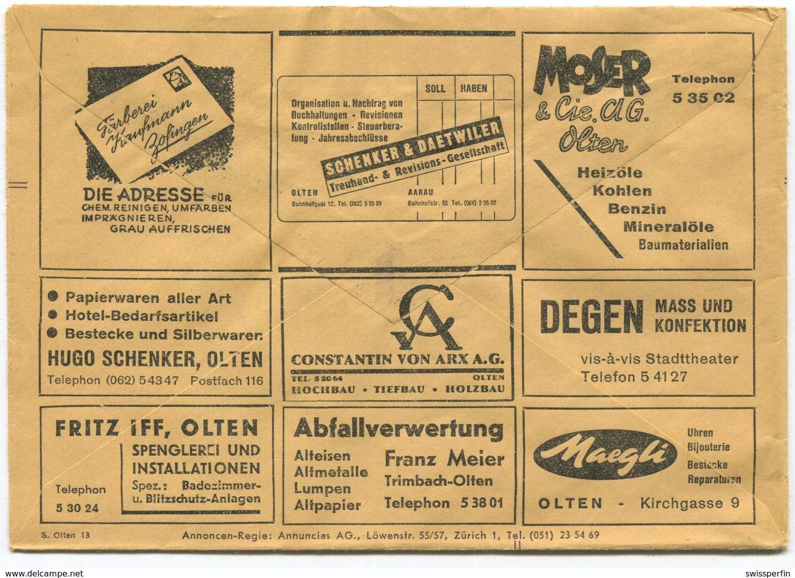 1837 - Mehrfachwerbung - Postcheckamt-Umschlag P 5605.-B.XI.53. - Suisse