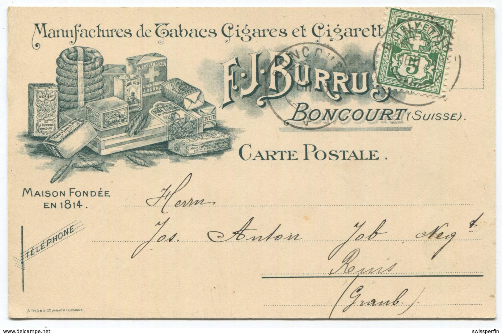 1843 - 5 Rp. Wertziffer Auf Litho-Postkarte - F.J. Burrus, BONCOURT - Manufactures De Tabacs Cigares Et Cigarettes - Lettres & Documents