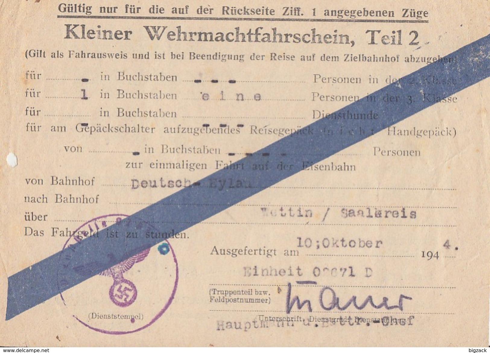 DR Kleiner Wehrmachtfahrschein Gültig Von Deutsch-Eylau Nach Wettin Vom 10.10.44 Ansehen !!!!!!!!!!! - Briefe U. Dokumente