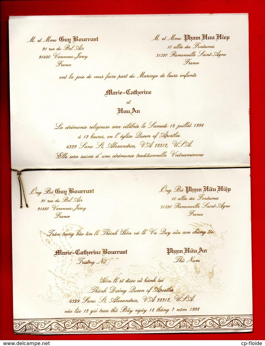 FAIRE-PART DE MARIAGE . MARIE-CATHERINE BOURRUST & PHAM HUU AN . LE 10 JUILLET 1998 . SANO ST ALEXANDRIA - Réf. N°417F - Boda