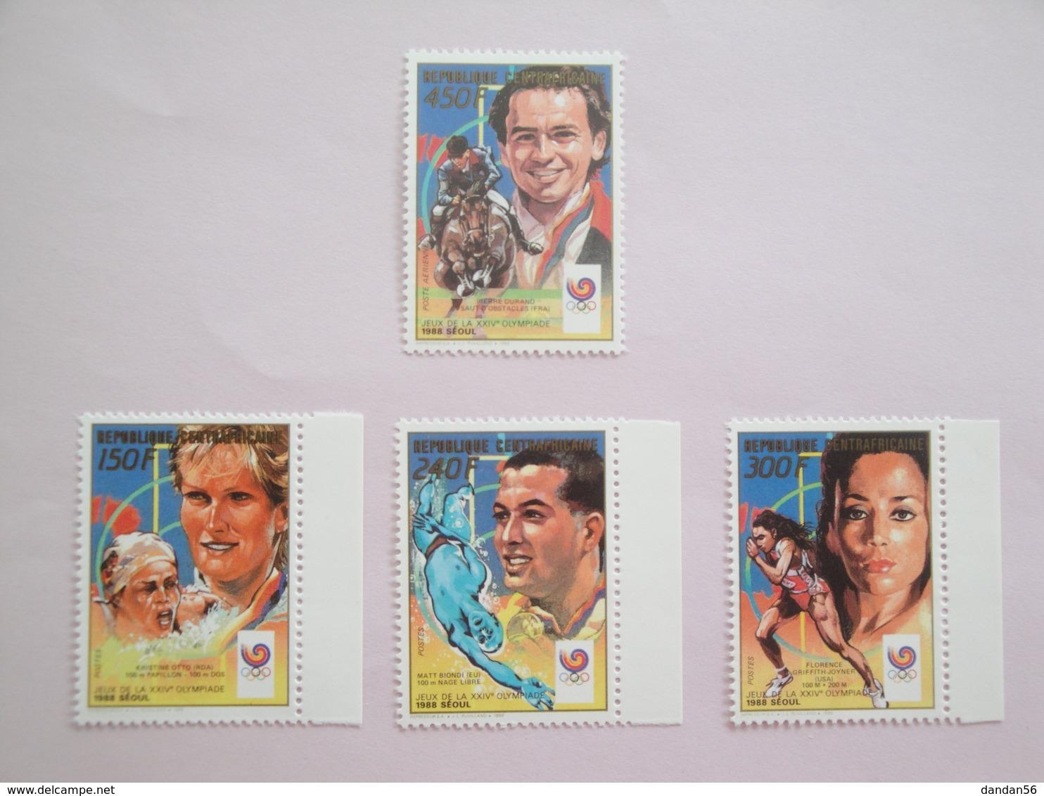 1989 Centrafricaine Yvert  803/5 + PA381A ** Sport JO Scott Xx Michel 1355/8 SG Xx - Centrafricaine (République)